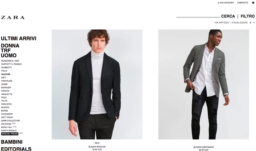 Pagina categoria di Zara